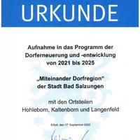 Urkunde Aufnahme in Dorfentwicklung Miteinander Dorfregion