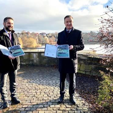 Bürgermeister Dr. Michael Brodführer (Bad Liebenstein) und Bürgermeister Klaus Bohl (Bad Salzungen) [(c) Andrea Dominik]